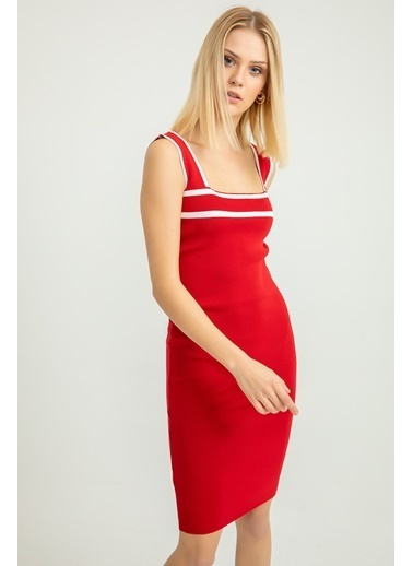 Foremia Triko Şerit Detay Kalın Askılı Elbise Kırmızı